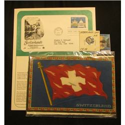 """""""Switzerland"""" Felt Flag; 1991 Official First Day of Issue Cover 700th Anniversary A Joint Issue by U"""