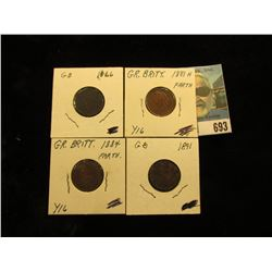 1866 EF, 1881 H EF, 1884 EF-AU, & 1891 VF Great Britain Farthings.