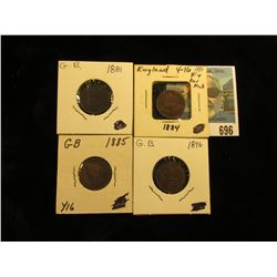 1881 VF, 1884 with rim bruise, 1885 Fine, & 1896 EF Great Britain Farthings.