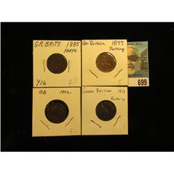 1885 VF, 1897 EF, 1902 VF, & 1913 EF Great Britain Farthings.