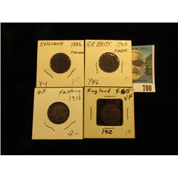 1886 EF, 1903 Fine, 1912 VF, & 1913 VF Great Britain Farthings.