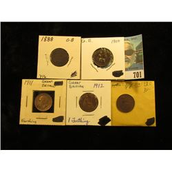 1888 VG, 1900 EF (some white verdigris), 1911 VG, 1912 Brown AU, & 1920 EF Great Britain Farthings.