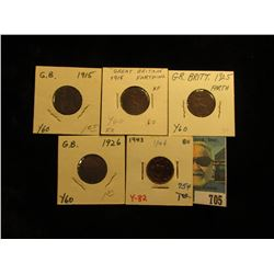 1915 Fine, 1918 EF, 1925 EF, 1926 VF, & 1943 Choice Red AU Great Britain Farthings.