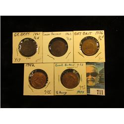 1861 LCW Good, 1862 VG, 36 Brown AU, 42 BU, & 44 AU Great Britain Half Pennies.