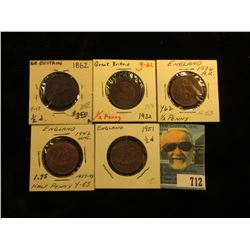 1862 VG, 32 VF, 36 Brown AU, 42 Red-Brown BU, & 51 EF Great Britain Half Pennies.
