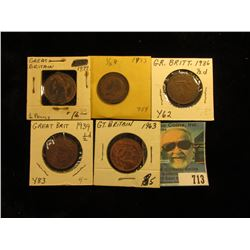 1877 EF with some luster, 33 VG, 36 VF, 39 Red-brown BU, & 63 Red-brown BU Great Britain Half Pennie