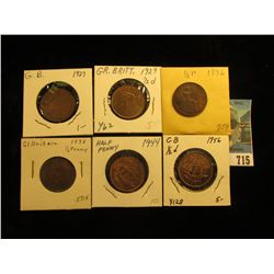 1927 VF, 29 AU, 36 VF, 38 VF, 44 Red-Brown Unc, & 56  Red-Brown Unc Great Britain Half Pennies.