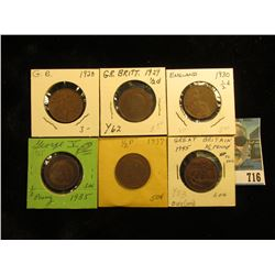 1928 EF, 29 EF, 30 EF, 35 Fine, 37 VF, & 45 Brown AU Great Britain Half Pennies.