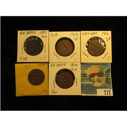 1897 VF, 1912 EF 16 VG, 17 VG, & 24 EF Great Britain Half Pennies.