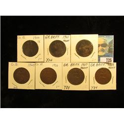 1900 VG, 01 Fine, 02 Fine, 29 Brown AU, 36 EF, 37 Brown AU, & 38 EF Great Britain Large Pennies.