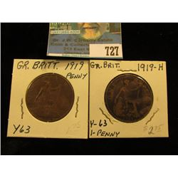 1919 EF,  & 1919 H VG with a reverse 'Strike Through' of obverse error Great Britain Large Pennies.