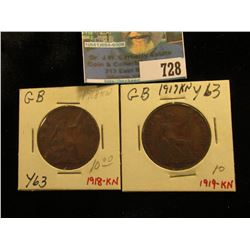 1918 KN &1919 KN Great Britain Large Pennies, VG-F.