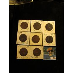 1889 VG, 91 Good, 97 VF, 98 Good, 1912 VF, 12 H Fine, 15 Fine, & 37 VF Great Britain Large Pennies.