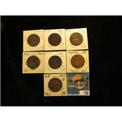 1891 Good, 98 Fine, 12 EF (residue on bust of King George V, 12 H VG, 13 VF, 14 VG, & 15 VF Great Br