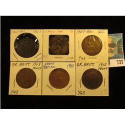 1882 H VF, 1906 Good, 07 VG, 08 Fine, 10 VG, & 15 VF Great Britain Large Pennies.