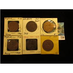 1906 Good, 07 VG, 08 AU, 09 Good, 10 VG, & 15 VF Great Britain Large Pennies.