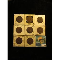 1903, 04, 06, 27, 36, 39, 45, & 48 Great Britain Large Pennies. VG-AU.