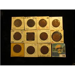 1908, 10, 21, 22, 34, 35, 36, 40, 46, 47, & 48 Great Britain Large Pennies. VG-EF.