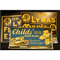 """""""Child's Razor Blades…10c…"""" Advertising Poster; """"Dr. Lynas' Flavoring Extracts Strong Natural Flavor"""