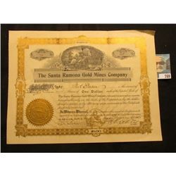 "1905 Stock Certificate for 25 Shares ""The Santa Ramona Gold Mines Company"", Lucas, Iowa. with emboss"