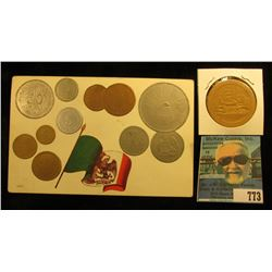 """""""Republica Mexicana Tarjeta Postal"""" Post card depicting a variety of Mexican Coins; & a Cat playing"""