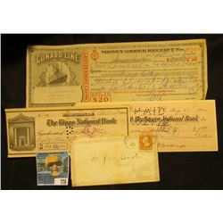 1864 Civil War Era Postmarked and Stamped envelope from Philadelphia, Pa.; 1930 Money Order Receipt