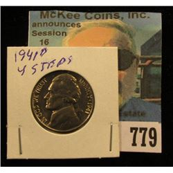 1941 D Jefferson Nickel, Brilliant Uncirculated with four full steps.