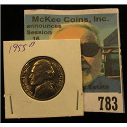 1955 D Jefferson Nickel, Brilliant Uncirculated with one and a half steps.
