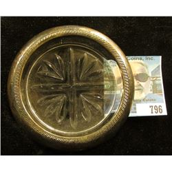 """Sterling Silver and lead glass Crystal Coaster. Stamped """"1883 Rogers Silver Co. Sterling""""."""