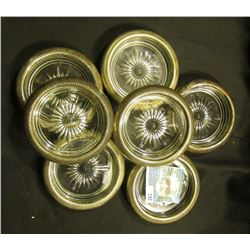 """Set of Seven Lead Glass Crystal Coasters stamped on rims """"Leon X Silverplate""""."""