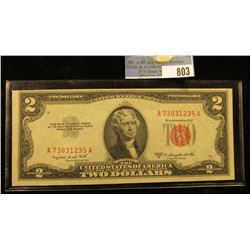 "Series 1953 B Two Dollar U.S. Note ""Red Seal"" Choice AU."