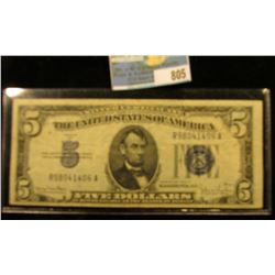 Series 1934 D Five Dollar U.S. Silver Certificate, Almost Uncirculated.