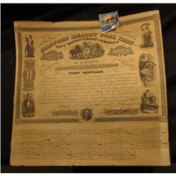 """1858 beautifully engraved first mortgage bond certificate from the """"Stafford Meadow Coal Iron City I"""