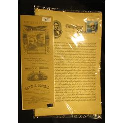 """Gettysburg Address"" printed on a sheet of paper measuring 11"" x 17"" & a Republican Ticket for ""Benj"