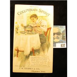 "Advertising card ""Trademark Columbian Spirit Cheaper Than Alcohol for the Purposes Named on the Back"