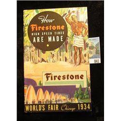 """Booklet """"How Firestone High Speed Tires Are Made World's Fair Chicago 1934""""."""