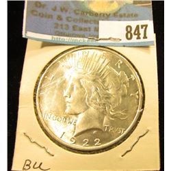 1922 D U.S. Peace Silver Dollar, Brilliant Uncirculated.