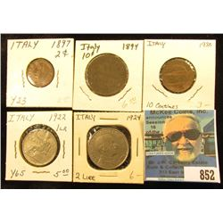 Five-Piece Type Set of Italian Coins dating from 1897 to 1930, includes 2c to 2 Lire.