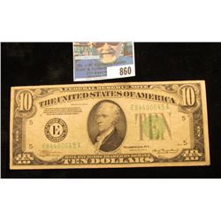 "Series 1934 A Ten Dollar Federal Reserve Note ""E"" Richmond, Va., Vg.."