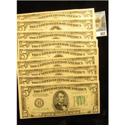 """(9) Series 1934 C Five Dollar Federal Reserve Notes """"H"""" St. Louis, Mo. Grading Fine to EF. 'Doc' val"""