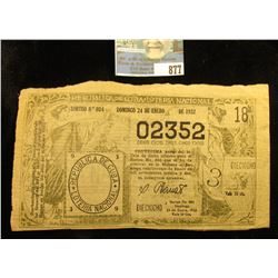 """1932 Republic of Cuba National Lottery Ticket """"Sorteo No. 804"""", """"02352"""", Woman depicted left and rig"""