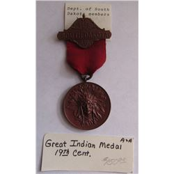 884. The Grand Army of the Republic, DEPT. OF SOUTH DAKOTA GAR BADGE, GREAT INDIAN MEDAL