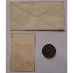 885. George B. McClellan Presidential Campaign of 1864 Medal(HOLED), PORTRAIT CARD, ENVELOPE