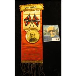 """Veteran"" Red white blue and Gold Ribbon with brass attachments, (Confederate flags crossed in cente"