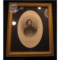 "Glass framed bust of ""Maj. Gen. John C. Fremont"" from Brady Photo, engraved by Buttre. 10.5"" x 12.5"""