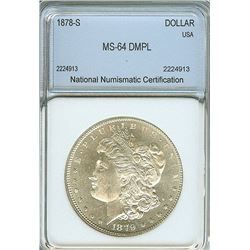 1878-S MORGAN SILVER DOLLAR NNC MS64  DMPL