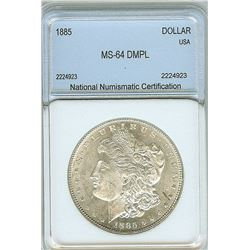 1885 MORGAN SILVER DOLLAR NNC MS64 DMPL