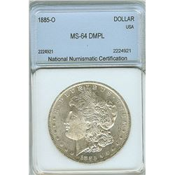 1885-O MORGAN SILVER DOLLAR  NNC MS64 DMPL