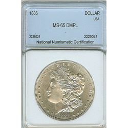 1886 MORGAN SILVER DOLLAR  NNC MS65 DMPL