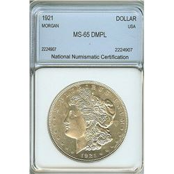 1921 MORGAN SILVER DOLLAR  NNC MS65 DMPL